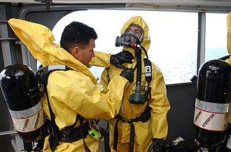 CBRN defense - Nuclear, biological and chemical (NBC) disposal technicians taking part in a training exercise.