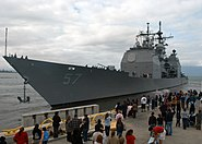 USS Lake Champlain (CG-57) prepares to get underway