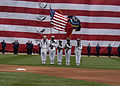 US Navy 070704-N-7869M-063 The color guard from multi-purpose amphibious assault ship USS Wasp (LHD 1) presents the colors during the Tampa Bay Devil Rays and Boston Red Sox baseball game at Fenway Park.jpg