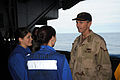 US Navy 090119-N-7571S-005 Adm. Jonathan W. Greenert speaks with ABHAN Jean Blair and ABH Priscilla Strong in the hangar bay during his brief visit aboard the aircraft carrier USS Theodore Roosevelt (CVN 71).jpg