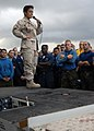 US Navy 090504-N-6639M-028 Rear Adm. Michelle Howard, commander of Expeditionary Strike Group (ESG) 2, addresses Sailors and Marines assigned to the amphibious assault ship USS Boxer (LHD 4).jpg