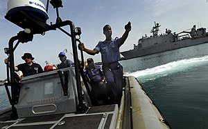 Ghana Navy - Ghana Navy sailor a in rigid-hulled inflatable boat