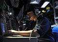 US Navy 100827-N-7282P-001 Fire Controlman 3rd Class Tyler Wyman operates a radar system control console during a ballistic missile defense exercise aboard USS Decatur (DDG 73).jpg