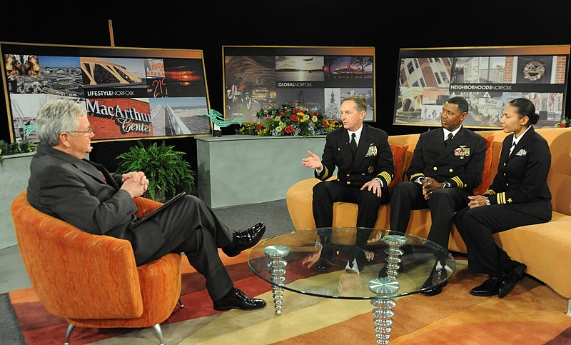 File:US Navy 110330-N-00332-112 Bob Batcher interviews Capt. William Hart and other senior leadership at WHRO Public Media about community involvement.jpg
