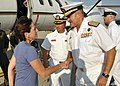 US Navy 110930-N-TM034-019 panish navy Rear Adm. Juan Ruiz Casas, Admiral in Chief for Rota Naval Base, welcomes Jackalyne Pfannenstiel, Assistant.jpg