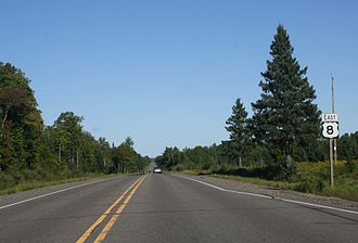 U.S. Route 8 - US 8 in Lincoln County, Wisconsin, near Tripoli