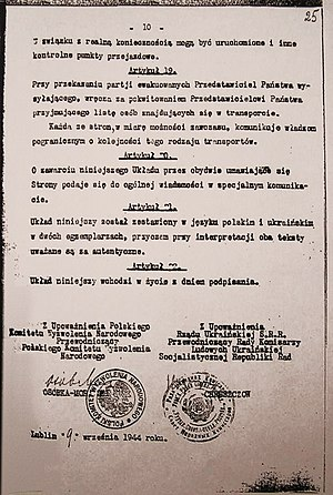 Operation Vistula - Polish-Ukrainian repatriation agreement signed by Khrushchev, 1944
