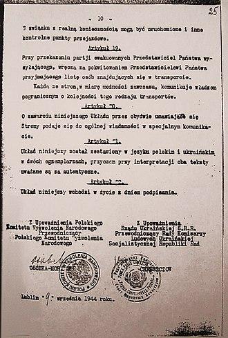 Operation Vistula - Polish-Ukrainian repatriation agreement signed by Khrushchev, 1944