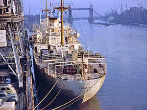 Pool of London - A ship unloading in 1962