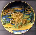 Urbino, nicola da urbino, coppa con sileno ebbro, 1520-25 ca., da m.a. raimondi.JPG