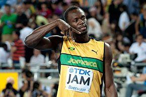 Usain Bolt dopo la finale della 4×100 ai mondiali di Taegu 2011.