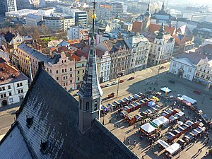 Plzeň - View from St. Bartholomew's Cathedral over Republic Square