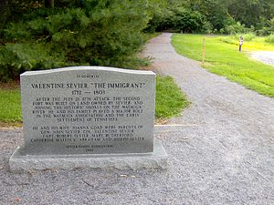 Sycamore Shoals - Valentine Sevier monument at Sycamore Shoals; the Seviers arrived in the Sycamore Shoals area in 1773.