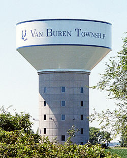 Van Buren Charter Township, Michigan Water Tower (35mm).jpg