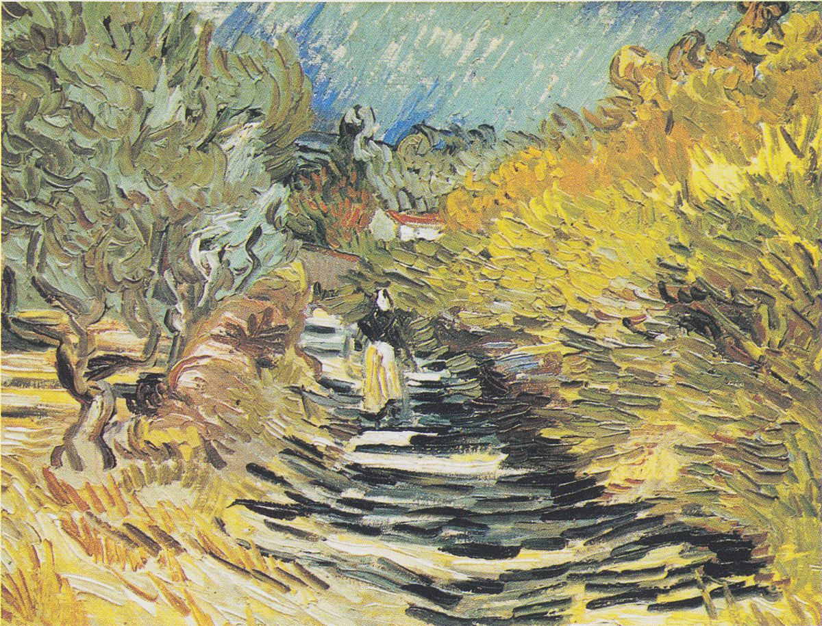 A road at saint remy with female figure wikipedia for Van gogh paintings locations