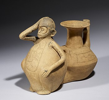 Veracruz - Double-Chambered Vessel with Monkey - Walters 482774 - Three Quarter.jpg
