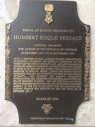 Humbert Roque Versace - Humbert Versace's memorial plaque outside MacArthur Barracks at West Point