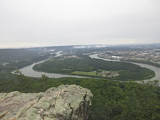 Chickamauga and Chattanooga National Military Park - View of Chattanooga and Moccasin Bend from the Lookout Mountain unit.