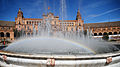 View on the Central Building in The Plaza de España (Parque de María Luisa), through the waters of Central Fountain. Seville, Andalusia, Spain, Southwestern Europe-2.jpg