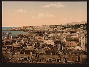 View towards the lighthouse, Genoa Italiano: V...