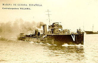 Spanish Republican Navy - Destroyer Villaamil, second unit of the Bustamante class, during maneuvers