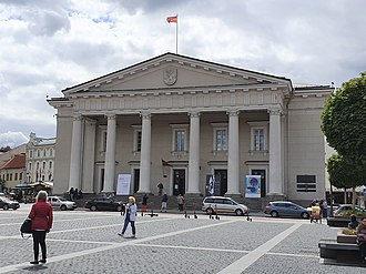 Vilnius Town Hall, reconstructed in neoclassical style according to the design by Laurynas Gucevicius in 1799 Vilnius Town Hall 2019.jpg