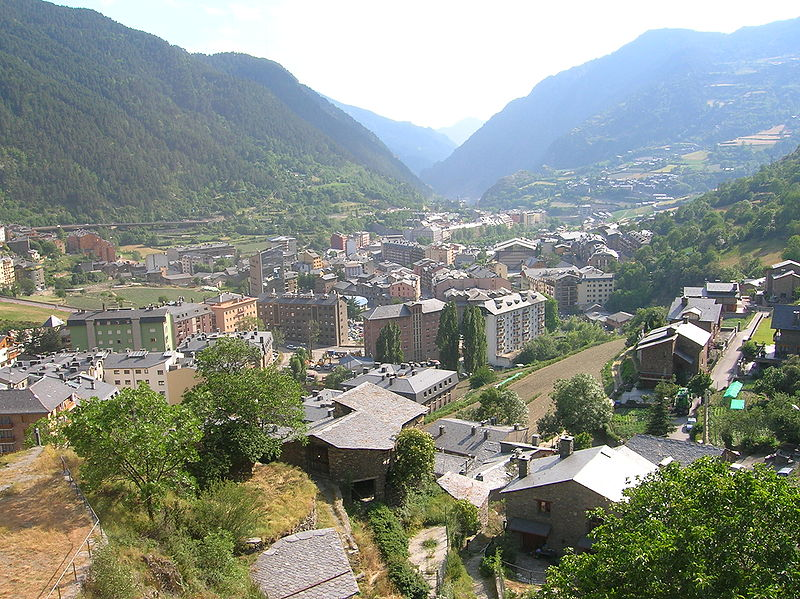 The town of Encamp, Andorra, looking south across the valley of the Valira d'Orient river. The CG-2 main road can just be seen on the far side of the valley.