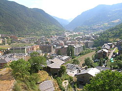 The town of Encamp and the Valira d'Orient river valley