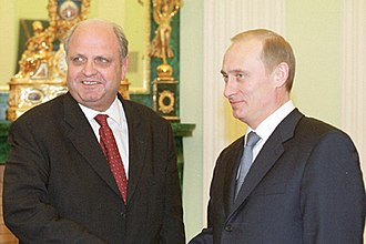 Mike Moore (New Zealand politician) - Moore with Vladimir Putin in 2001.