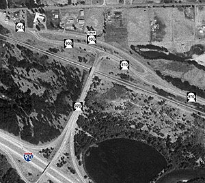 Washington State Route 970 - An aerial image of SR 970's western terminus at I-90, including the intersection with SR903 and SR903Spur, east of Cle Elum with shields superimposed onto the respective highways.