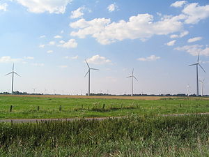 Wind farm in Neuenkirchen, Dithmarschen (Germany).