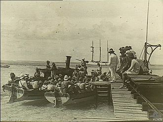 Cocos (Keeling) Islands - A landing party from the German Navy cruiser Emden leaves Cocos (Keeling) Islands via this jetty on Direction Island on 9 November 1914.