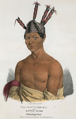 Winnebago War - An 1825 portrait Waukon Decorah, one of the Ho-Chunk chiefs who surrendered Red Bird to the Americans.