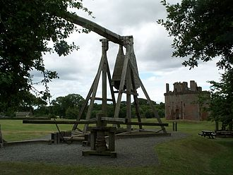 Warwolf - Scale model of Warwolf in front of Caerlaverock Castle.