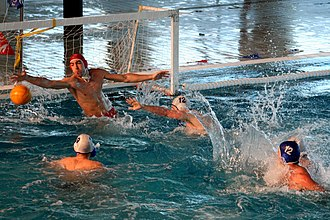 Water polo - Goalkeeper blocking a shot