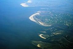 Luftaufnahme mit Trischen, Eiderstedt und den südlichen nordfriesischen Außensänden