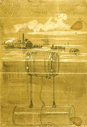 Infernal machines in the Potomac River in 1861 during the American Civil War, sketch by Alfred Waud.