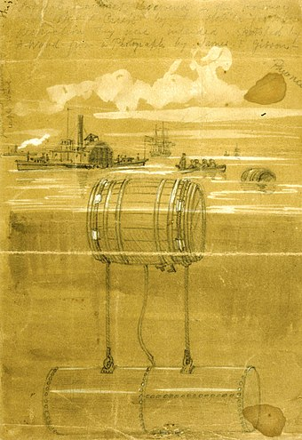 Infernal machines in the Potomac River in 1861 during the American Civil War, sketch by Alfred Waud Waud - infernal machines.jpg