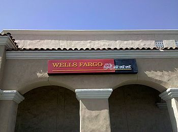 A mini Wells Fargo bank branch inside of a Pav...