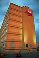 West facade of Explorer Hotel, Yellowknife, lit by late summer sunset.jpg