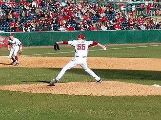Ryne Stanek - Stanek pitching for the Arkansas Razorbacks