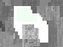 Un montaggio delle fotografie disponibili dei satelliti USGS che mostrano i territori nel Nevada meridionale. L'NTS e le regioni circostanti sono visibili, la base Nellis e le aree adiacenti sono state rimosse