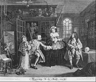 "History of alternative medicine - ""Marriage à la Mode, Plate 3, (The Scene with the Quack)"" by William Hogarth, 1745"