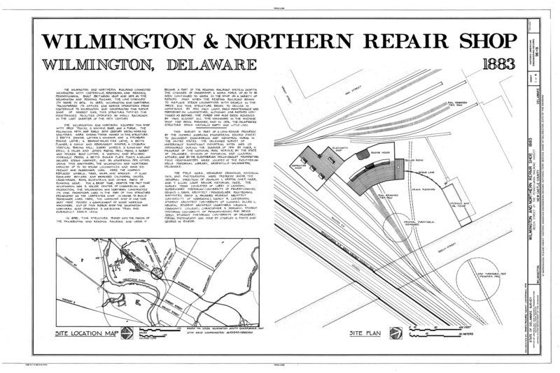 File:Wilmington and Northern Railroad, Repair Shop, Beech Street, Wilmington, New Castle County, DE HAER DEL,2-WILM,34- (sheet 1 of 4).tif