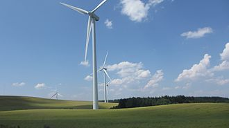 Wind power in France - Wind turbines in the Aveyron department of the Midi-Pyrenees region of France