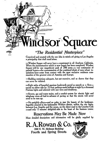 Windsor Square, Los Angeles - Windsor Square advertisement, 1911