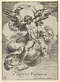 Winged genius seated on a cloud, sounding a trumpet with his left hand extended upwards MET DP836880.jpg