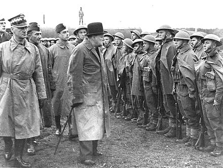 British Prime Minister Winston Churchill reviewing Polish troops in England, 1943. Winston Churchill reviewing Polish troops in England.PNG