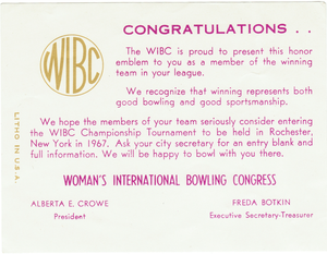 Women's International Bowling Congress - Note included with emblem.