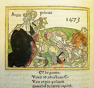 Argia of Argos - Woodcut illustration of Argia and Polynieces (1473)